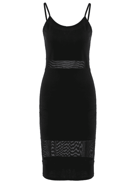 affordable Mesh Panel Cami Sheath Dress - BLACK L Mobile