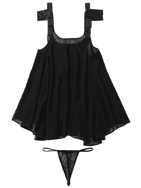 Billowy Chiffon Beach Top Cover Up - Noir TAILLE MOYENNE Mobile