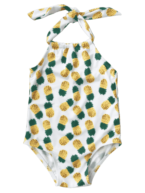 womens Kids Pineapple Print One Piece Swimsuit - WHITE 5T Mobile