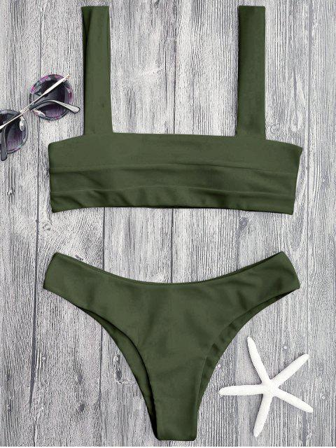 fancy Bandeau Padded Bikini Top and Bottoms - GREEN S Mobile