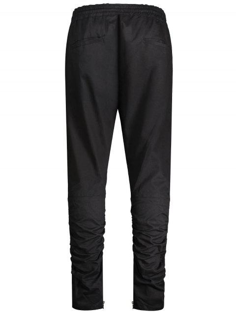 Slim Fit Drawstring Mens Twill Pants - Noir 2XL Mobile