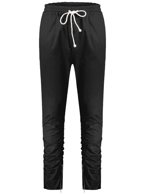 Slim Fit Drawstring Mens Twill Pants - Noir XL Mobile