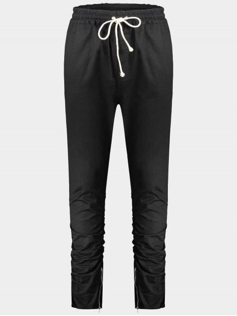 Slim Fit Drawstring Mens Pantalones de sarga - Negro L Mobile