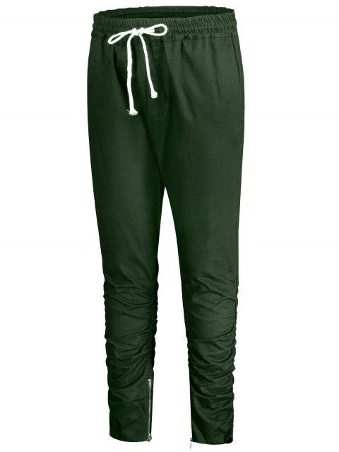 hot Slim Fit Drawstring Mens Twill Pants - GREEN 2XL Mobile
