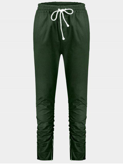 outfits Slim Fit Drawstring Mens Twill Pants - GREEN L Mobile