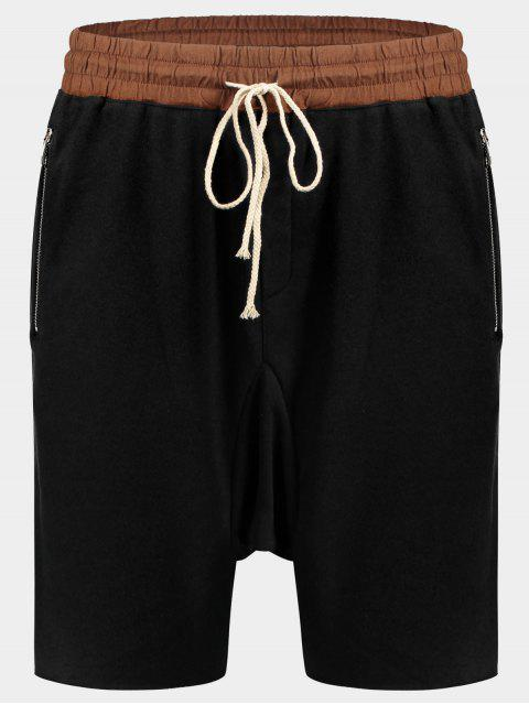 Bolsillos con Zip Basculador Terry Sweat Shorts - Negro L Mobile