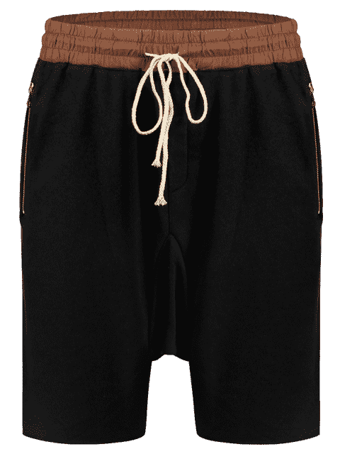 shops Zip Pockets Jogger Terry Sweat Shorts - BLACK L Mobile