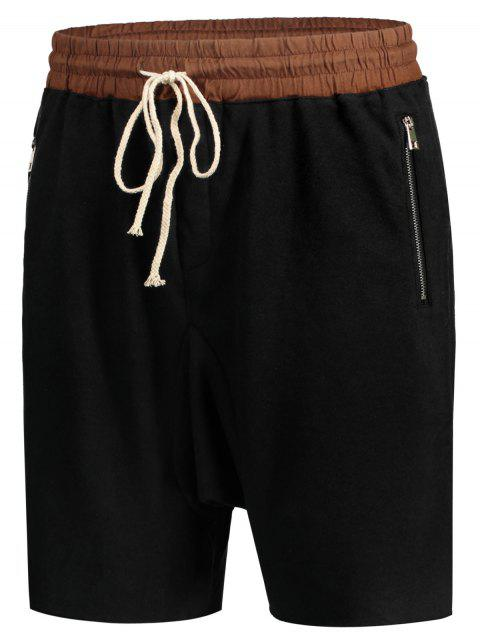 latest Zip Pockets Jogger Terry Sweat Shorts - BLACK M Mobile