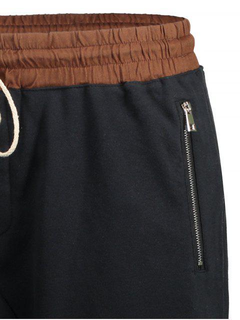 trendy Zip Pockets Jogger Terry Sweat Shorts - CADETBLUE XL Mobile