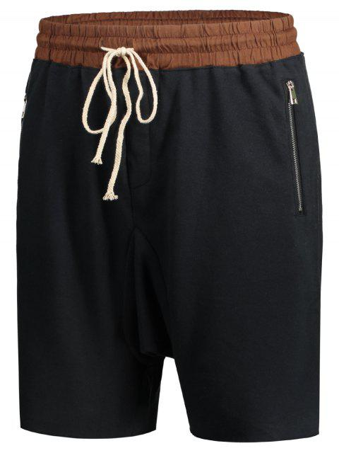 fashion Zip Pockets Jogger Terry Sweat Shorts - CADETBLUE L Mobile