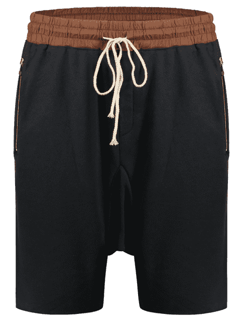 chic Zip Pockets Jogger Terry Sweat Shorts - CADETBLUE M Mobile