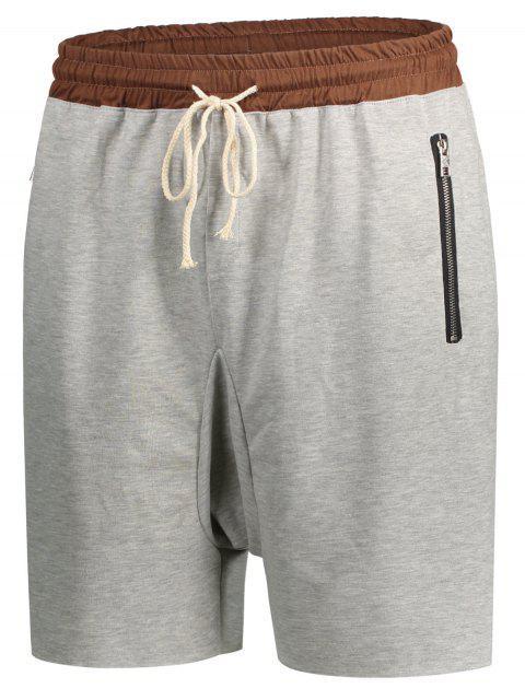 unique Zip Pockets Jogger Terry Sweat Shorts - GRAY L Mobile