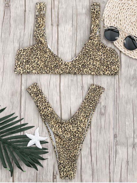 womens Knotted Leopard Print Thong Bathing Suit - LEOPARD S Mobile