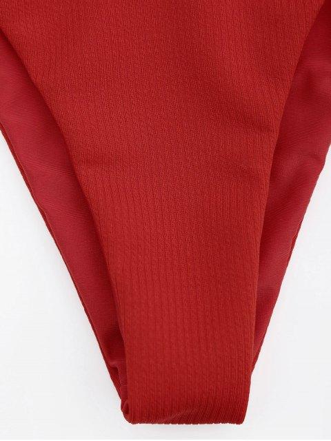 new Adjustable Textured Knot Bralette Bikini Set - RED L Mobile