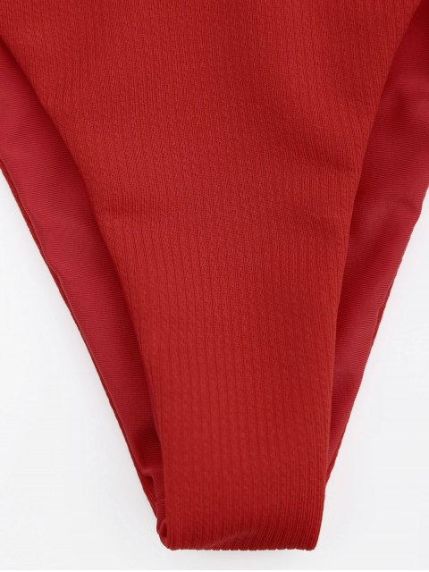 hot Adjustable Textured Knot Bralette Bikini Set - RED M Mobile