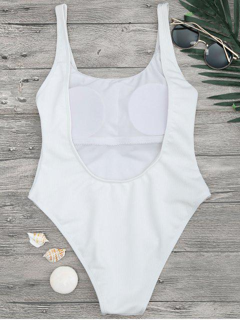 shops High Cut Textured Scoop One Piece Swimsuit - WHITE S Mobile