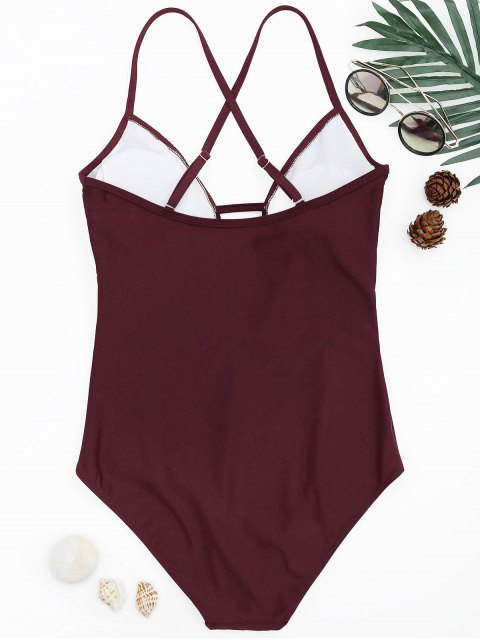 latest Shaping Contast Lace Plunge One Piece Swimsuit - BURGUNDY L Mobile