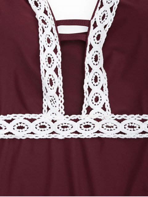 trendy Shaping Contast Lace Plunge One Piece Swimsuit - BURGUNDY M Mobile