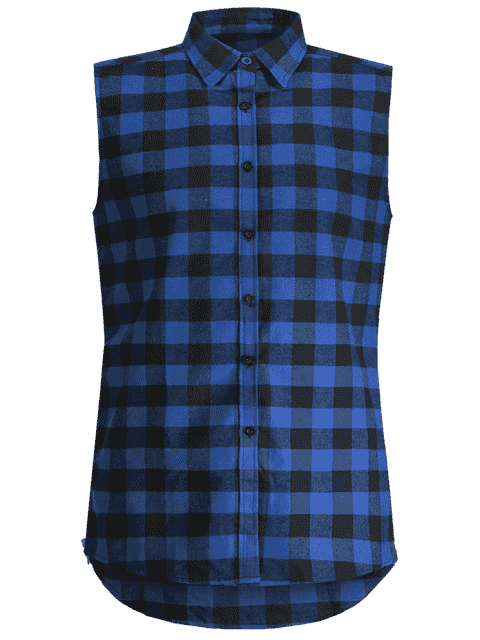 fancy Checked Twill Mens Sleeveless Shirt - BLUE XL Mobile
