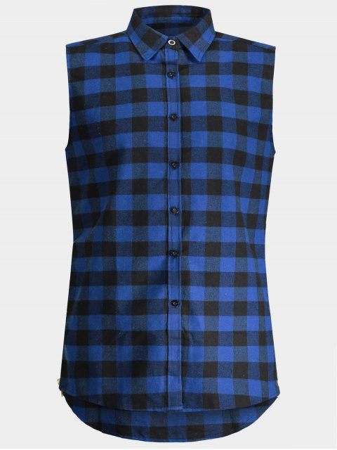 unique Checked Twill Mens Sleeveless Shirt - BLUE L Mobile