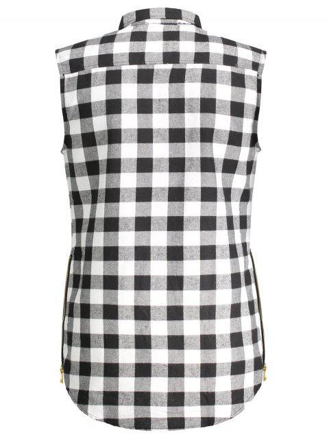 Chemise sans manches à manches contrastées - Gris XL Mobile