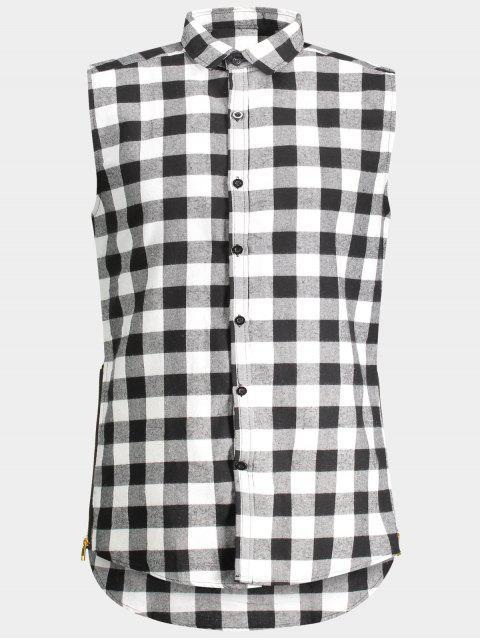 buy Checked Twill Mens Sleeveless Shirt - GRAY XL Mobile