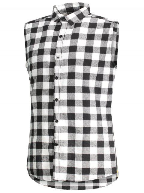 womens Checked Twill Mens Sleeveless Shirt - GRAY L Mobile