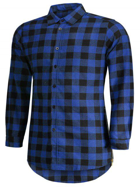 women's Mens Casual Checked Shirt - BLUE 2XL Mobile