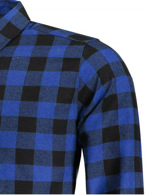 ladies Mens Casual Checked Shirt - BLUE XL Mobile