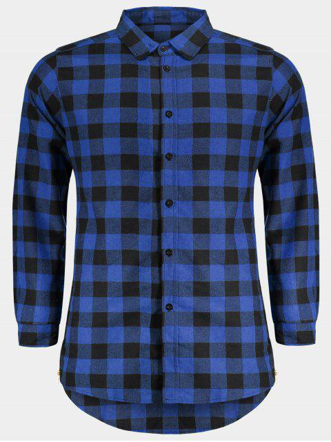 lady Mens Casual Checked Shirt - BLUE L Mobile
