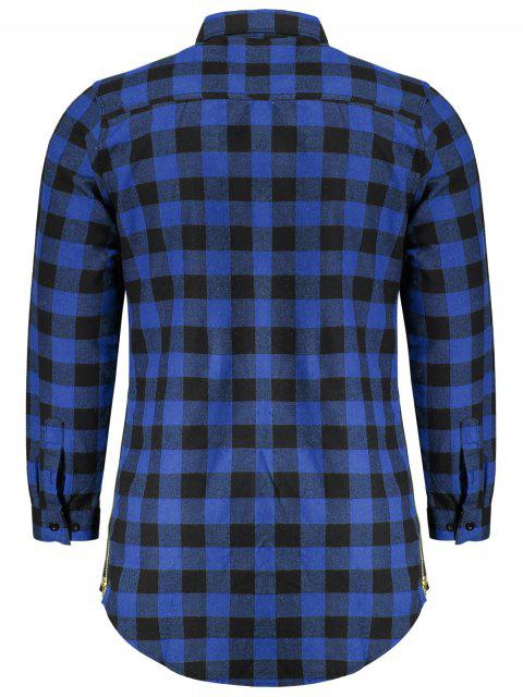 best Mens Casual Checked Shirt - BLUE M Mobile