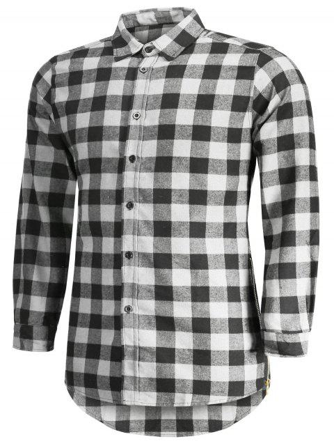 online Mens Casual Checked Shirt - GRAY 2XL Mobile