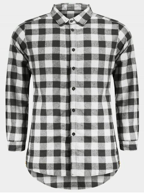 hot Mens Casual Checked Shirt - GRAY L Mobile