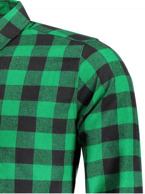 Chemise à carreaux décontractée pour hommes - Vert L Mobile