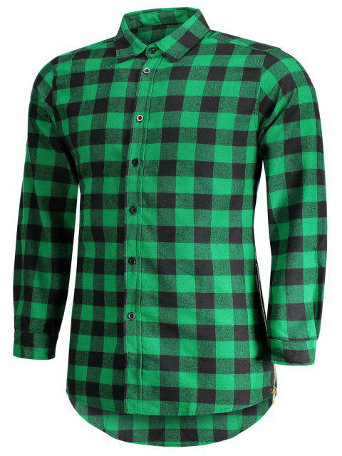 shops Mens Casual Checked Shirt - GREEN L Mobile