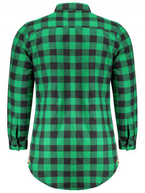 latest Mens Casual Checked Shirt - GREEN M Mobile