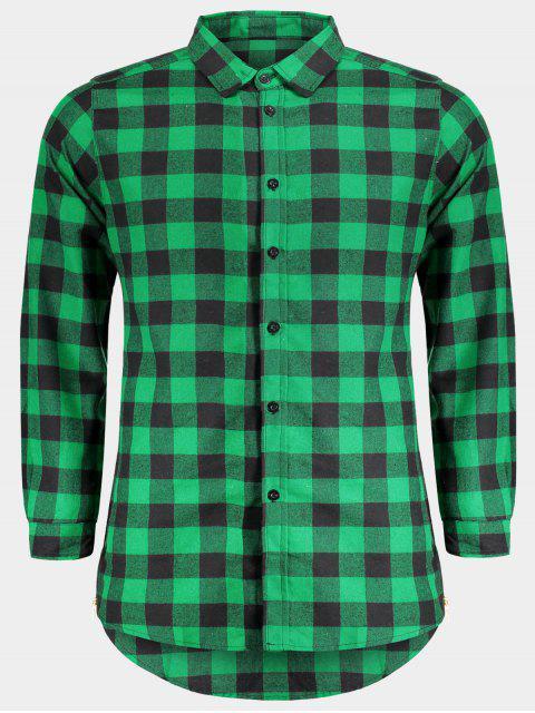 Chemise à carreaux décontractée pour hommes - Vert M Mobile