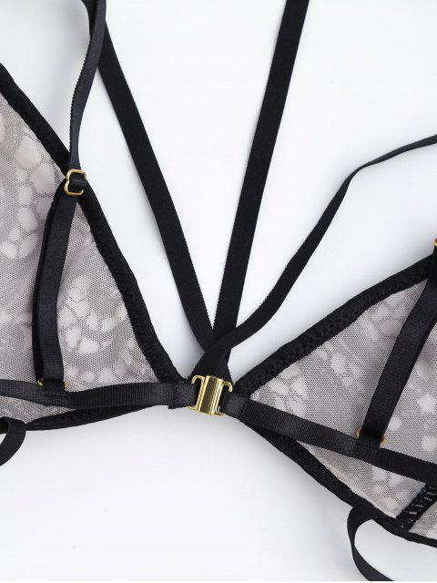 ladies Bralette Bandage Lace Caged Choker Bra - BLACK M Mobile