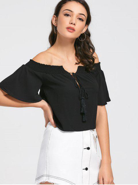ladies Loose Off Shoulder Tassels Top - BLACK L Mobile