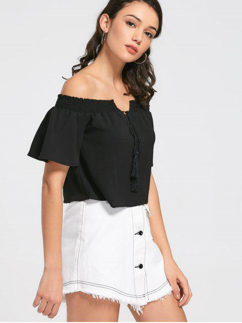 lady Loose Off Shoulder Tassels Top - BLACK M Mobile