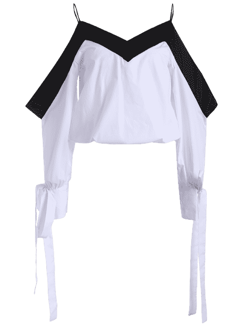 new Two Tone Cold Shoulder Top - WHITE AND BLACK XL Mobile
