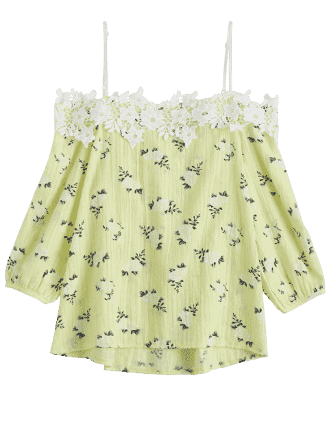 Cami Tiny Floral Applique Cami Top - Jaune TAILLE MOYENNE Mobile