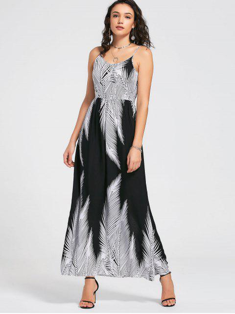 Robe maxi tropicale - Blanc et Noir S Mobile