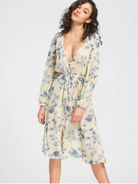 Vea hasta Buttun encima del vestido floral de Midi - Luz amarilla M Mobile