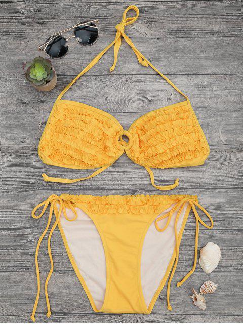 Gepolstertes Rüschen-Bikini-Set - Gelb L Mobile