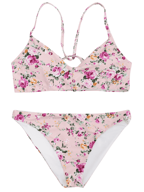 lady Padded Tiny Floral Back Strappy Bikini - PINK L Mobile