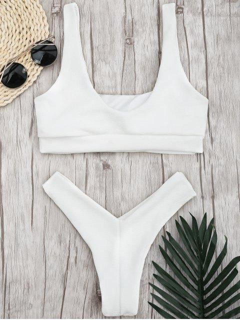shop Ribbed Square Neck Thong Bikini - WHITE M Mobile