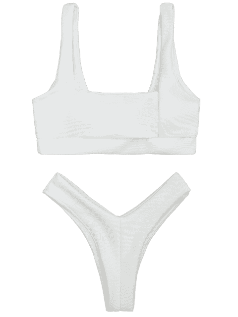 shops Ribbed Square Neck Thong Bikini - WHITE S Mobile
