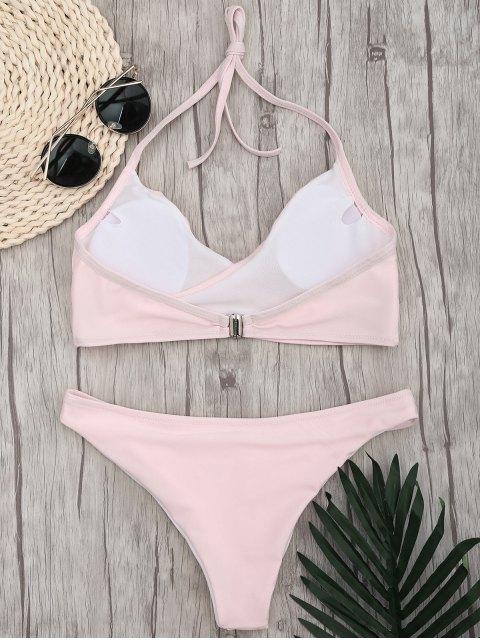 chic Halter Crossover High Cut Bikini - PINK L Mobile