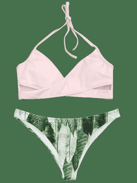 affordable Halter Crossover Palm Leaf Bikini - PINK L Mobile